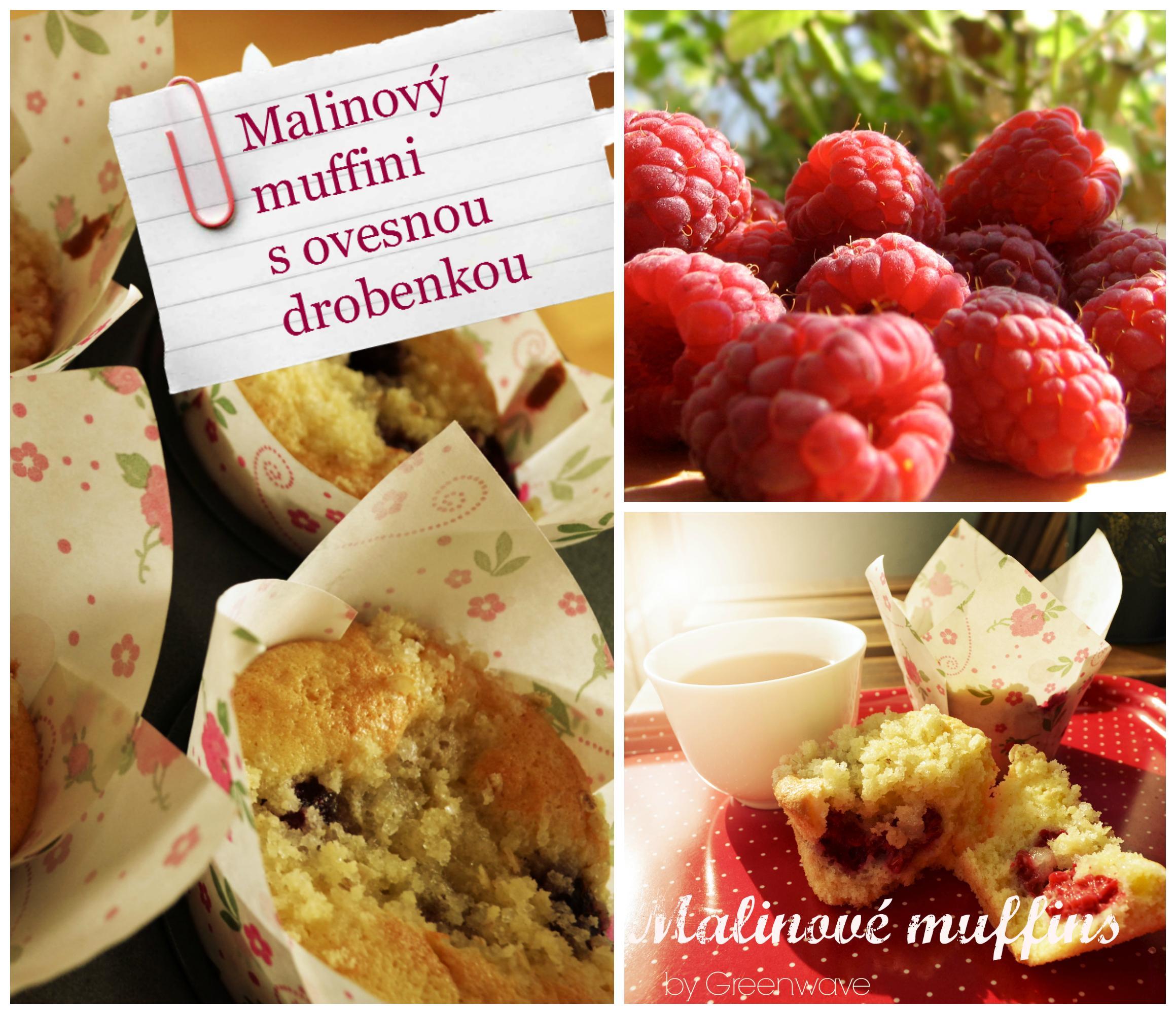 Malinové muffins koláž